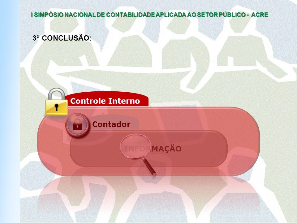 I SIMPÓSIO NACIONAL DE CONTABILIDADE APLICADA AO SETOR PÚBLICO - ACRE INFORMAÇÃO Contador Controle Interno 3° CONCLUSÃO: