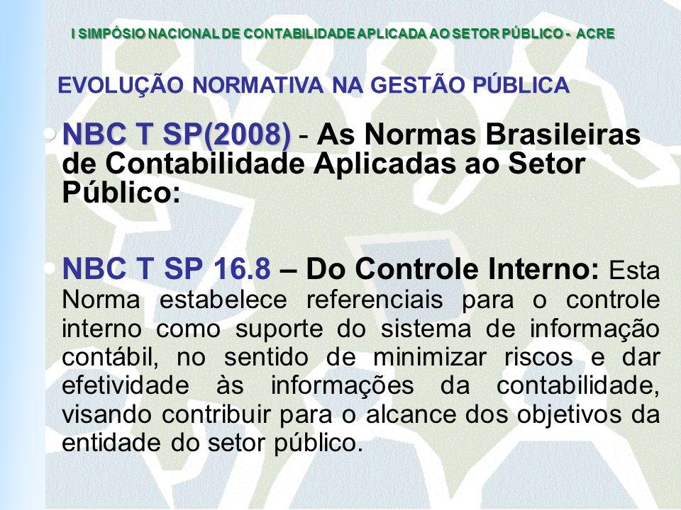 I SIMPÓSIO NACIONAL DE CONTABILIDADE APLICADA AO SETOR PÚBLICO - ACRE ORIGEM DAS FRAUDES INSUFICIÊNCIA DE SISTEMAS DE CONTROLES INTERNOS 17% PARTICULARIDADES DA ATIVIDADE ESTATAL 63% SUPRESSÃO DOS CONTROLES PELOS DIRIGENTES 13% MÁ- CONDUTA 7% FONTE: A Fraude no Brasil (KPMG, 2002) COMO DESCOBRIR CONTROLES INTERNOS (SETORES) 51% AUDITORIA INTERNA 26% INFORMAÇÕES DE TERCEIROS 9% INFORMAÇÕES DE FUNCIONÁRIOS 5% COINCIDÊNCIA 3% DENÚNCIA ANÔNIMA 2% AUDITORIA EXTERNA ( SÓ ?) INVESTIGAÇÃO ESPECIAL - CPI 2%