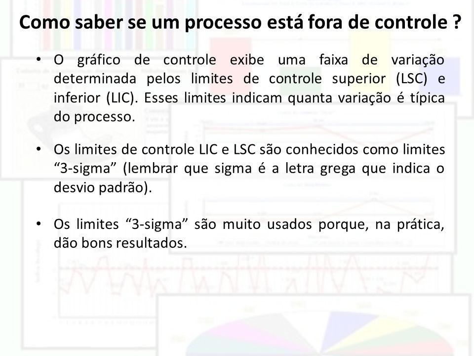 Como saber se um processo está fora de controle ? O gráfico de controle exibe uma faixa de variação determinada pelos limites de controle superior (LS