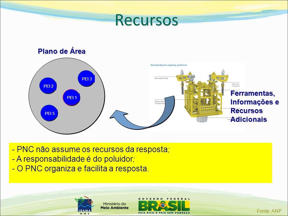 Recursos PEI 1 PEI 2PEI 3PEI 5 Plano de Área Ferramentas, Informações e RecursosAdicionais - PNC não assume os recursos da resposta ; - A responsabili