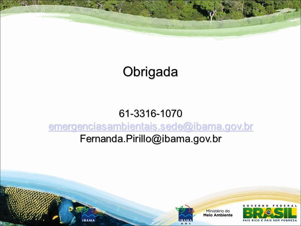 Obrigada61-3316-1070 emergenciasambientais.sede@ibama.gov.br Fernanda.Pirillo@ibama.gov.br