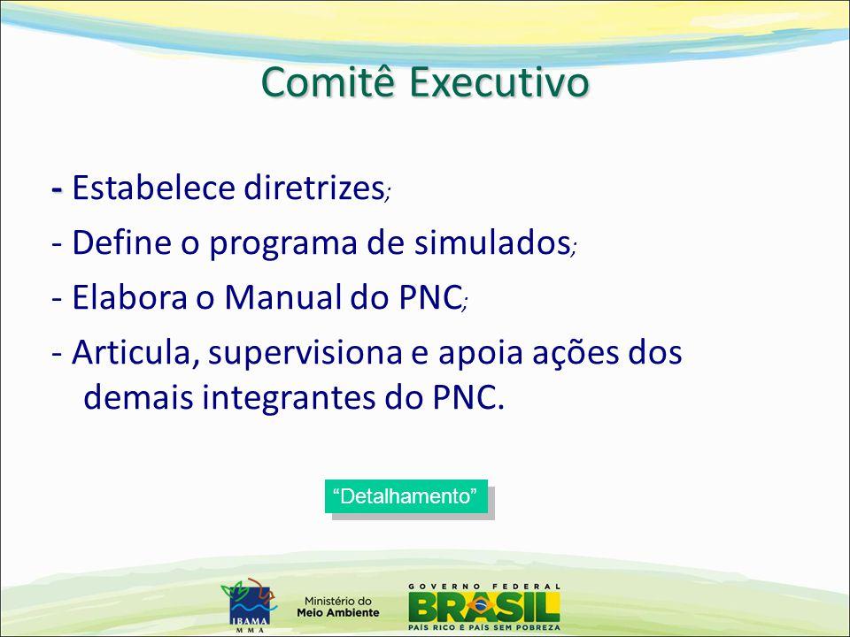 - - Estabelece diretrizes ; - Define o programa de simulados ; - Elabora o Manual do PNC ; - Articula, supervisiona e apoia ações dos demais integrant