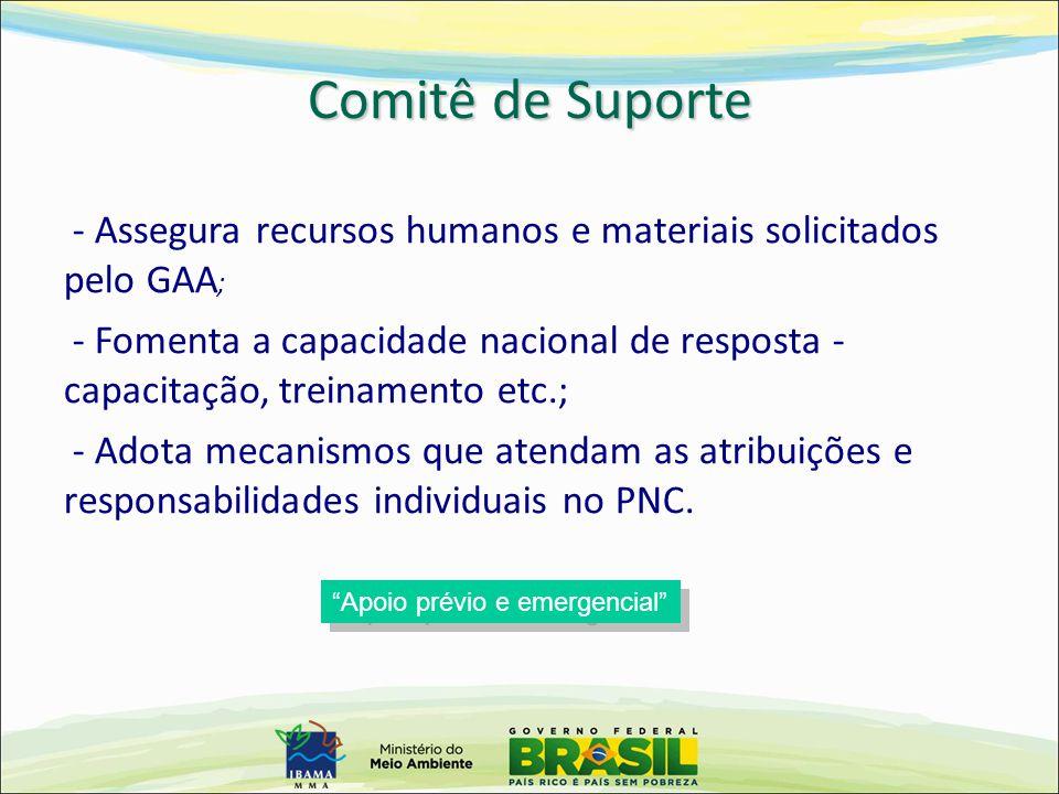 - Assegura recursos humanos e materiais solicitados pelo GAA ; - Fomenta a capacidade nacional de resposta - capacitação, treinamento etc.; - Adota me