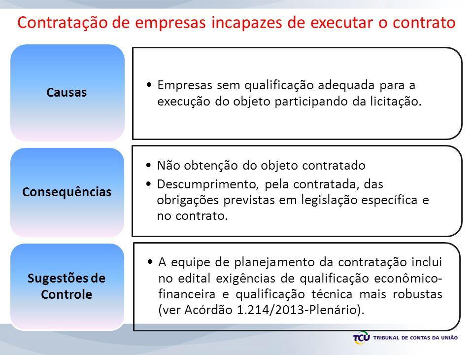 Empresas sem qualificação adequada para a execução do objeto participando da licitação. Causas Não obtenção do objeto contratado Descumprimento, pela