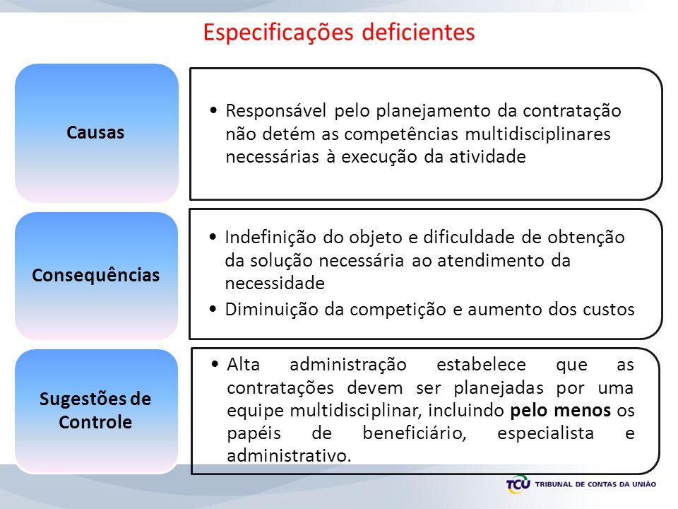 Responsável pelo planejamento da contratação não detém as competências multidisciplinares necessárias à execução da atividade Causas Indefinição do ob