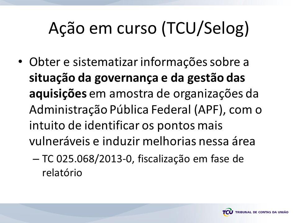 Ação em curso (TCU/Selog) Obter e sistematizar informações sobre a situação da governança e da gestão das aquisições em amostra de organizações da Adm