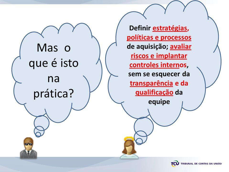 Mas o que é isto na prática? Definir estratégias, políticas e processos de aquisição; avaliar riscos e implantar controles internos, sem se esquecer d