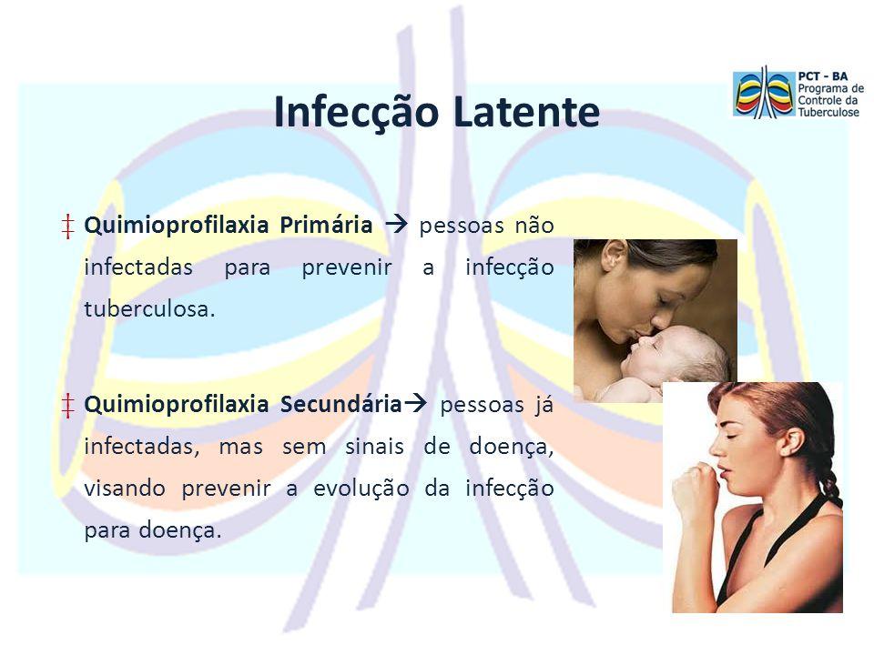Infecção Latente ‡Quimioprofilaxia Primária  pessoas não infectadas para prevenir a infecção tuberculosa.