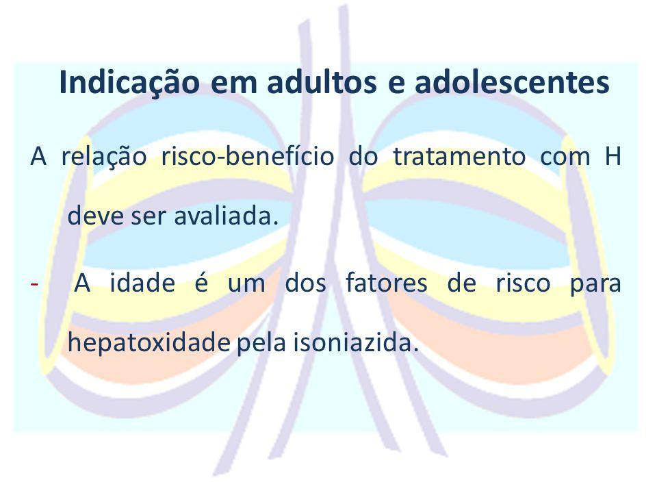 Indicação em adultos e adolescentes A relação risco-benefício do tratamento com H deve ser avaliada.