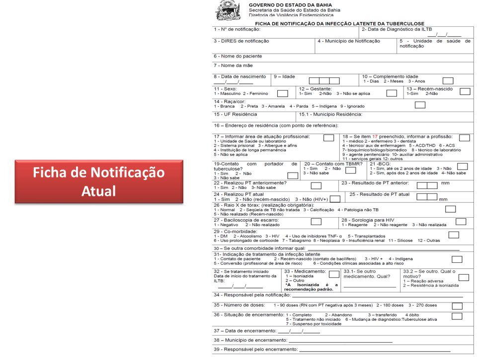 Ficha de Notificação Atual Ficha de Notificação Atual