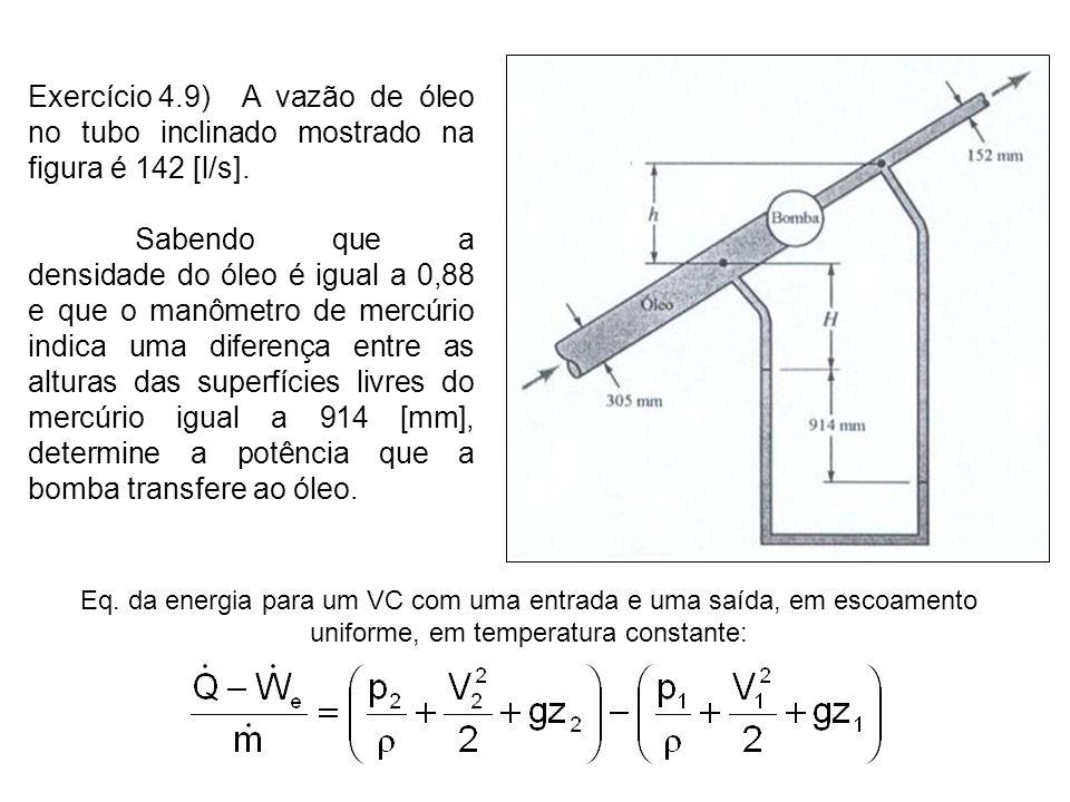 Exercício 4.9) A vazão de óleo no tubo inclinado mostrado na figura é 142 [l/s]. Sabendo que a densidade do óleo é igual a 0,88 e que o manômetro de m