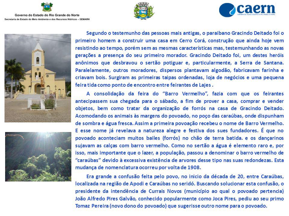 Segundo o testemunho das pessoas mais antigas, o paraibano Gracindo Deitado foi o primeiro homem a construir uma casa em Cerro Corá, construção que ai