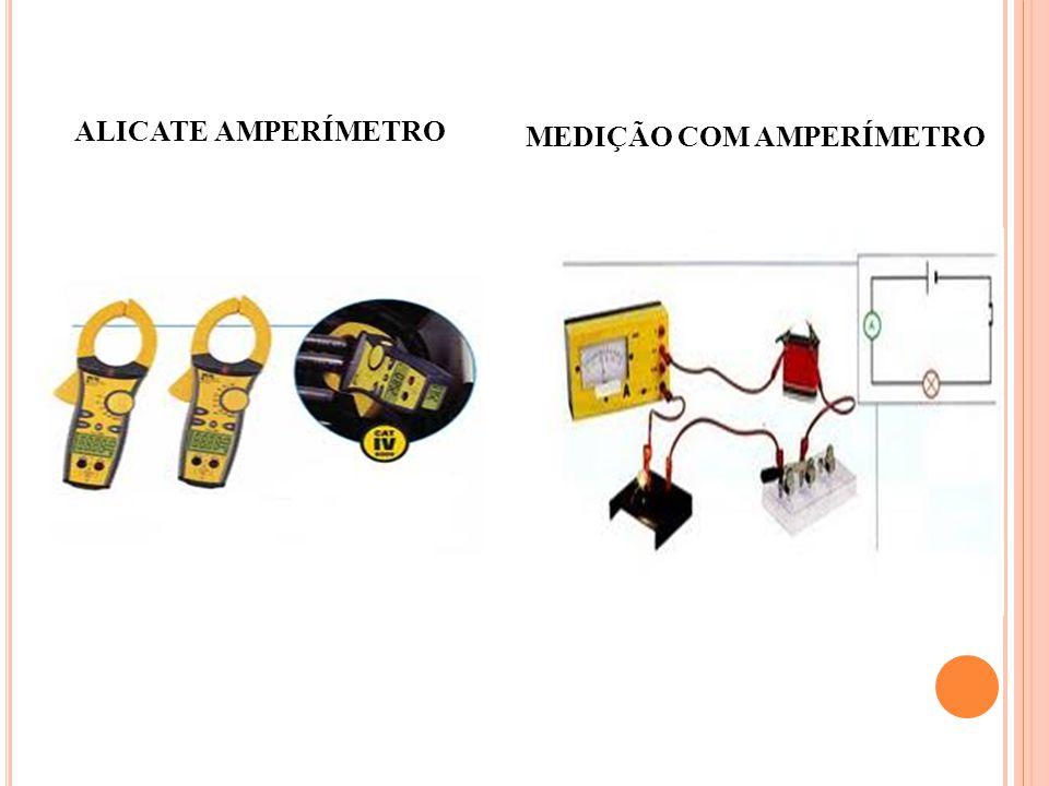 MEDIDAINSTRUMENTOCONEXÃO TIPO DE MEDIDA OBSERVAÇÃO Corrente Amperímetro ou Galvanômetro Série com o circuito A quente Bobina móvel: CC e BF senoidal.