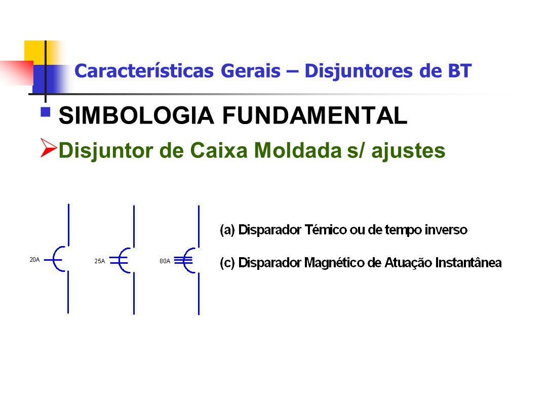 Características Gerais – Disjuntores de BT  SIMBOLOGIA FUNDAMENTAL  Disjuntor de Caixa Moldada s/ ajustes
