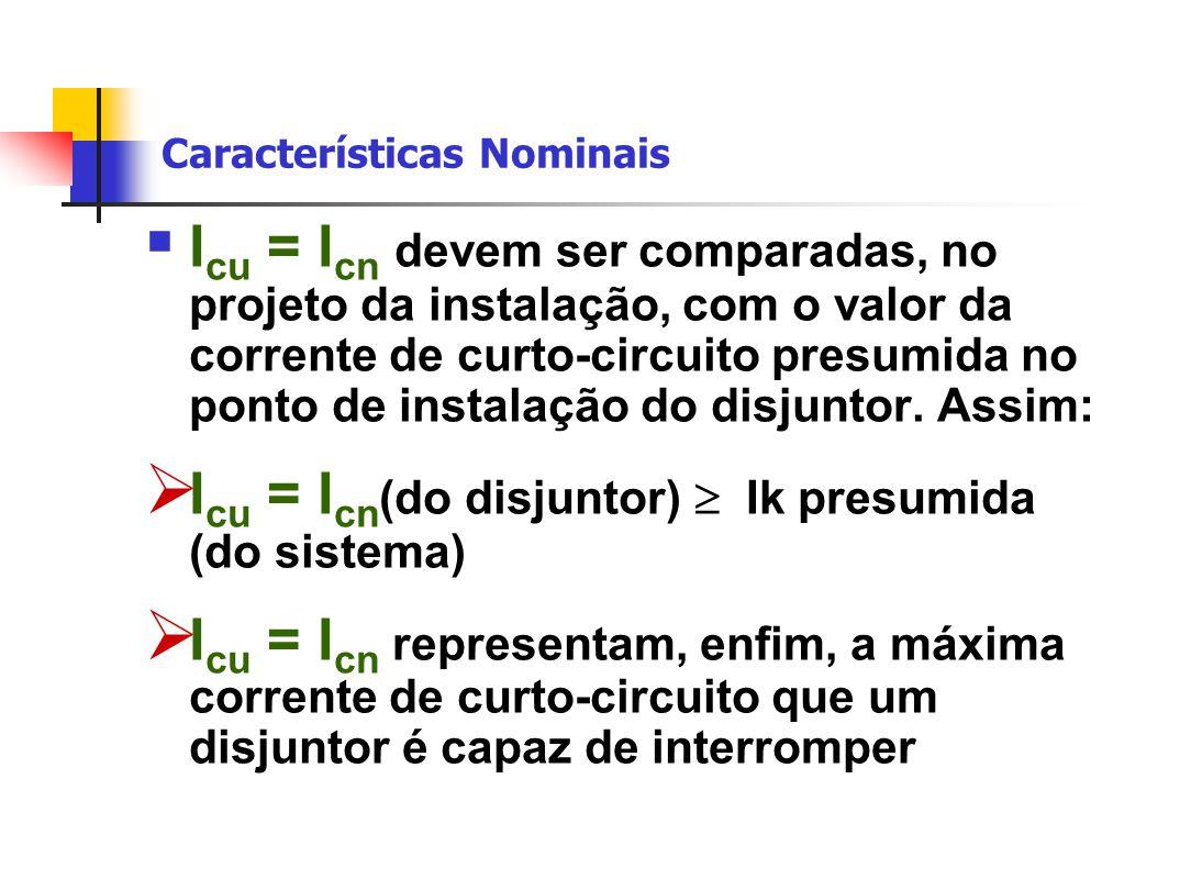 Características Nominais  I cu = I cn devem ser comparadas, no projeto da instalação, com o valor da corrente de curto-circuito presumida no ponto de instalação do disjuntor.