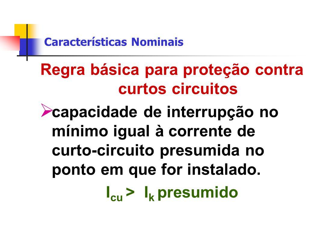 Características Nominais Regra básica para proteção contra curtos circuitos  capacidade de interrupção no mínimo igual à corrente de curto-circuito presumida no ponto em que for instalado.