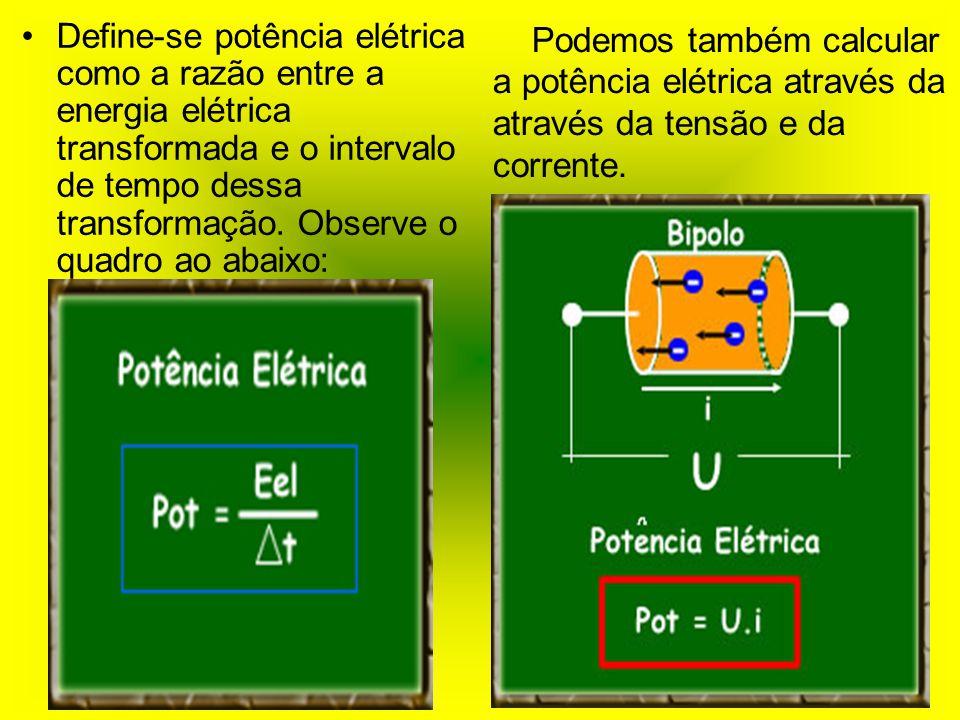 Define-se potência elétrica como a razão entre a energia elétrica transformada e o intervalo de tempo dessa transformação. Observe o quadro ao abaixo: