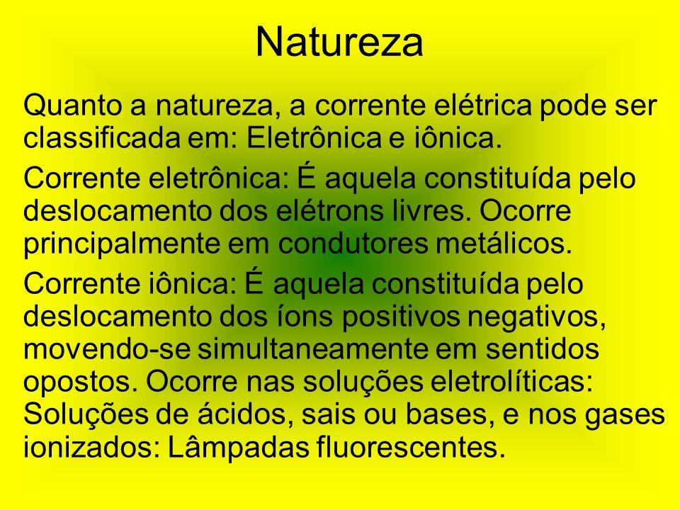 Natureza Quanto a natureza, a corrente elétrica pode ser classificada em: Eletrônica e iônica. Corrente eletrônica: É aquela constituída pelo deslocam