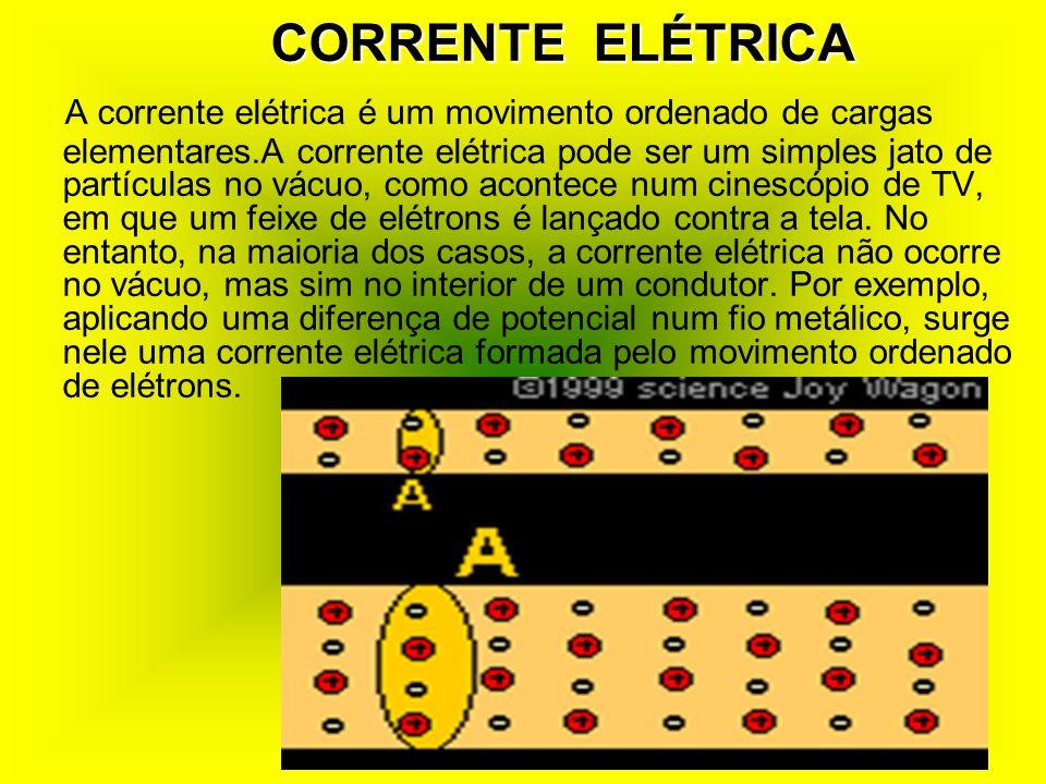 CORRENTE ELÉTRICA A corrente elétrica é um movimento ordenado de cargas elementares.A corrente elétrica pode ser um simples jato de partículas no vácuo, como acontece num cinescópio de TV, em que um feixe de elétrons é lançado contra a tela.