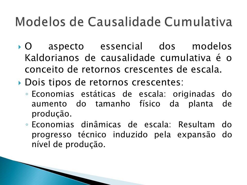  O aspecto essencial dos modelos Kaldorianos de causalidade cumulativa é o conceito de retornos crescentes de escala.  Dois tipos de retornos cresce