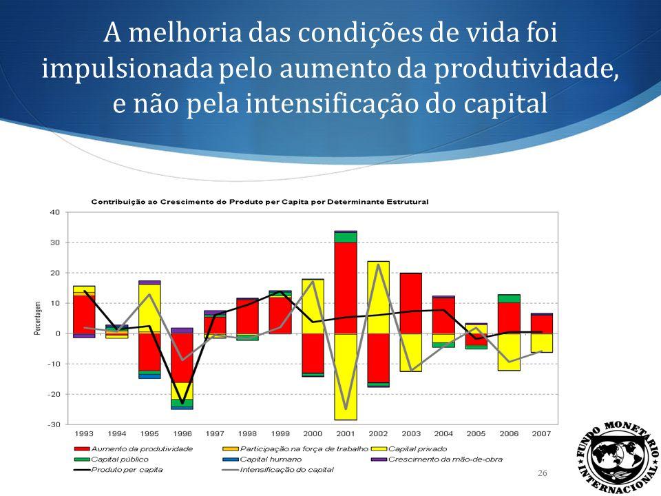 Os efeitos expansionistas estimados do alargamento do investimento são consideráveis 27 Estima-se que um aumento de um por cento na taxa de investimento privado cause um aumento de 1,3 por cento no crescimento do produto.