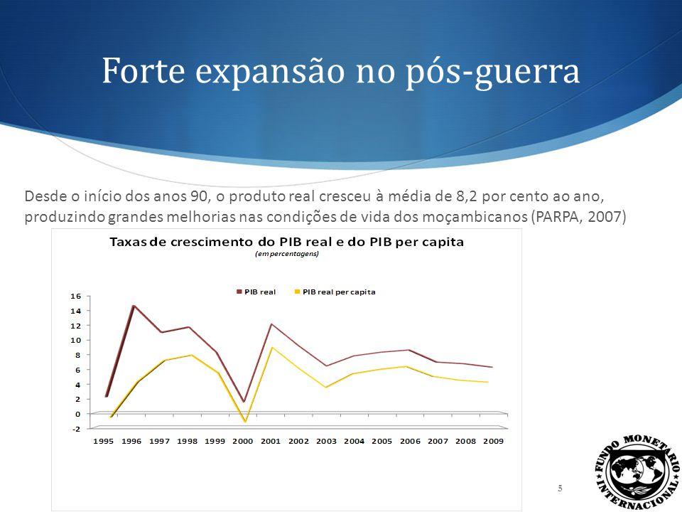 Fontes do crescimento: Produção A expansão económica está bem distribuída entre os sectores produtivos, com os mega projectos a ditar os moldes da actividade económica no sector secundário.