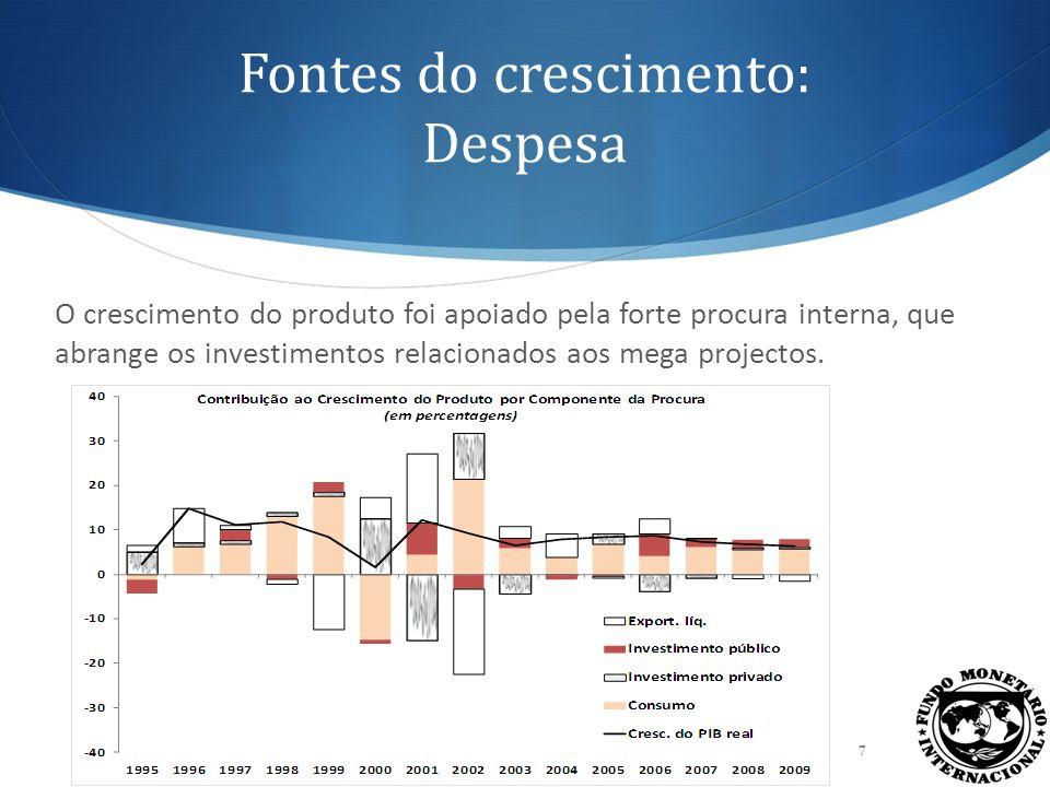 O crescimento foi seguido da maior inserção na economia mundial 8 O crescimento conduziu à maior abertura ao comércio internacional, o que contribuiu para a melhor sincronização com os ciclos económicos de outras regiões do mundo.