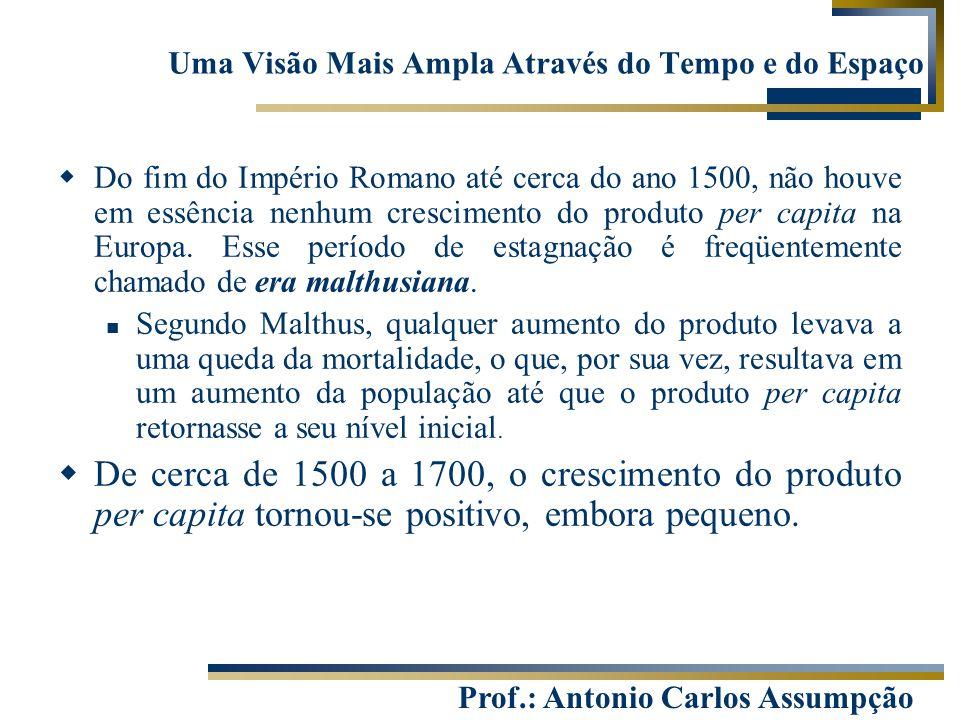 Prof.: Antonio Carlos Assumpção Uma Visão Mais Ampla Através do Tempo e do Espaço  Do fim do Império Romano até cerca do ano 1500, não houve em essên