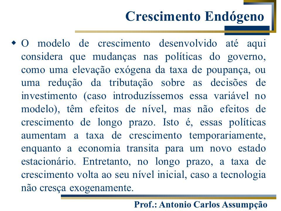 Prof.: Antonio Carlos Assumpção Crescimento Endógeno  O modelo de crescimento desenvolvido até aqui considera que mudanças nas políticas do governo,