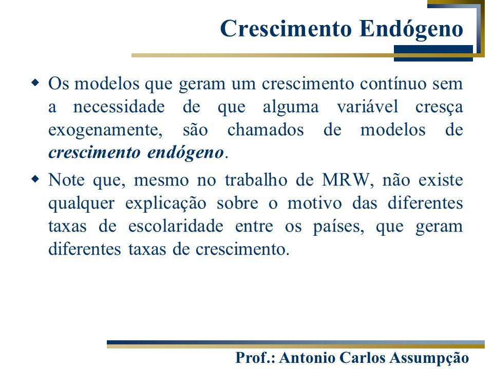 Prof.: Antonio Carlos Assumpção  Os modelos que geram um crescimento contínuo sem a necessidade de que alguma variável cresça exogenamente, são chama