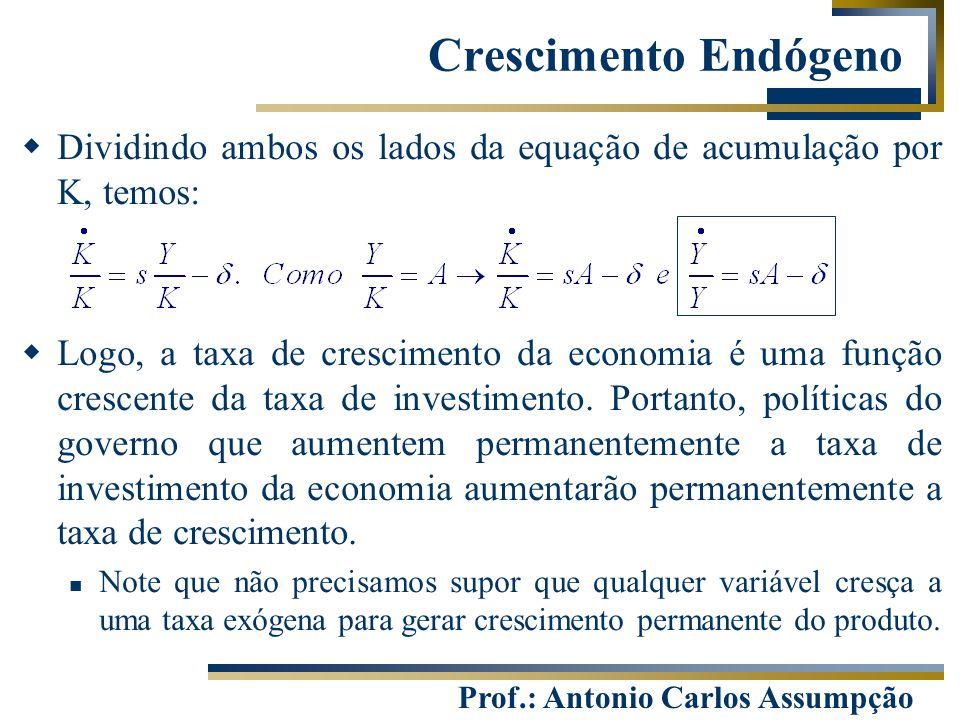 Prof.: Antonio Carlos Assumpção  Dividindo ambos os lados da equação de acumulação por K, temos:  Logo, a taxa de crescimento da economia é uma funç