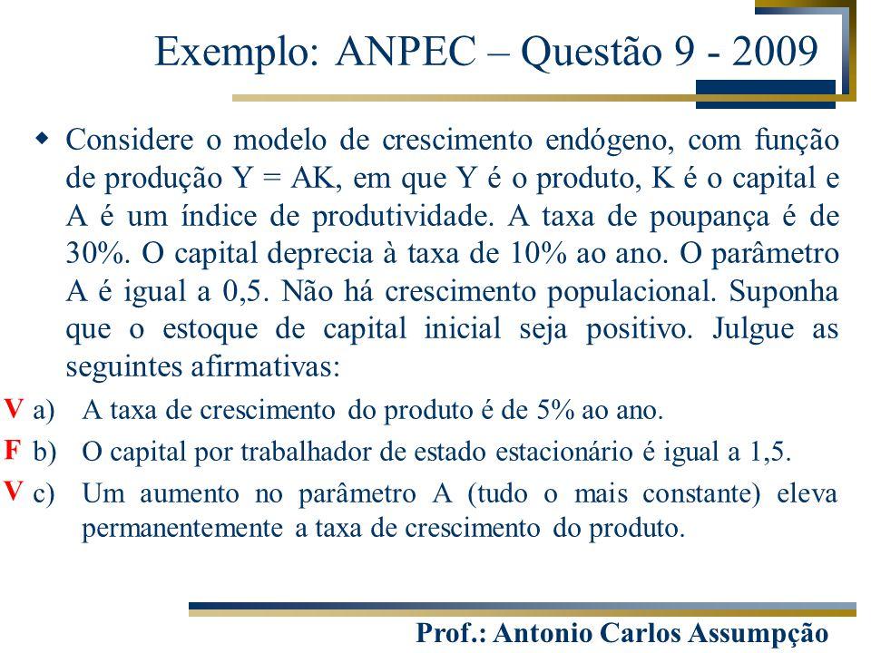 Prof.: Antonio Carlos Assumpção Exemplo: ANPEC – Questão 9 - 2009  Considere o modelo de crescimento endógeno, com função de produção Y = AK, em que