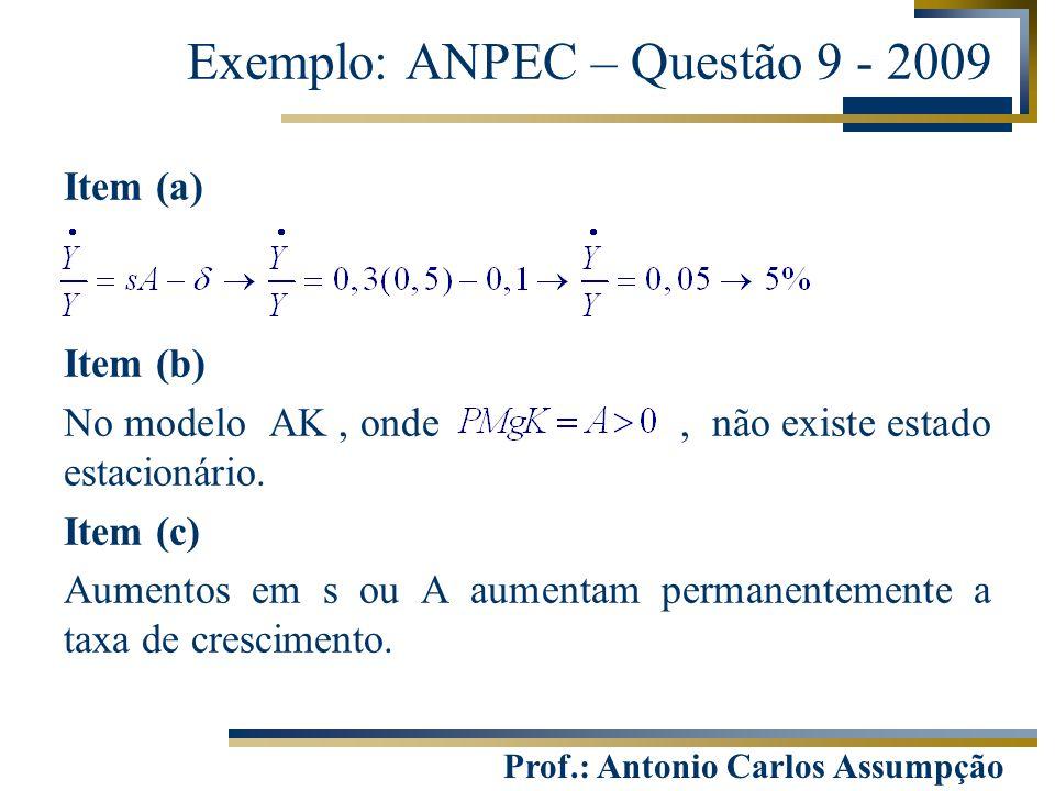 Prof.: Antonio Carlos Assumpção Item (a) Item (b) No modelo AK, onde, não existe estado estacionário. Item (c) Aumentos em s ou A aumentam permanentem