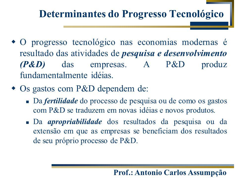 Prof.: Antonio Carlos Assumpção Determinantes do Progresso Tecnológico  O progresso tecnológico nas economias modernas é resultado das atividades de
