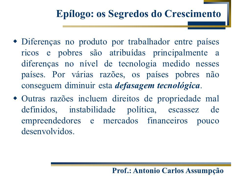 Prof.: Antonio Carlos Assumpção Epílogo: os Segredos do Crescimento  Diferenças no produto por trabalhador entre países ricos e pobres são atribuídas