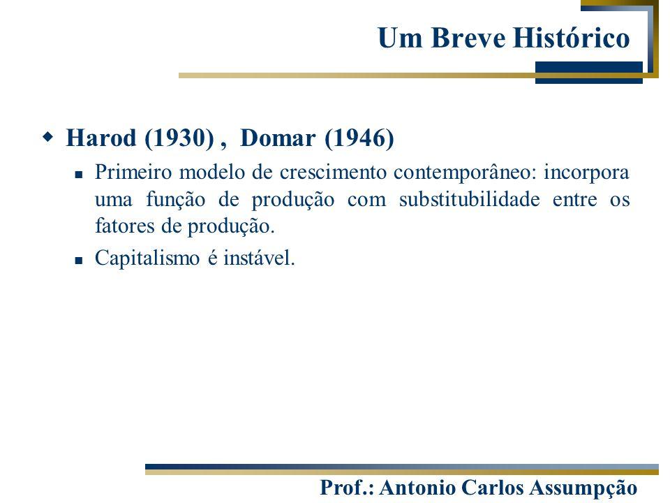 Prof.: Antonio Carlos Assumpção Um Breve Histórico  Harod (1930), Domar (1946) Primeiro modelo de crescimento contemporâneo: incorpora uma função de