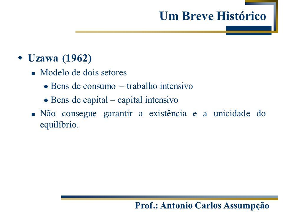 Prof.: Antonio Carlos Assumpção  Uzawa (1962) Modelo de dois setores Bens de consumo – trabalho intensivo Bens de capital – capital intensivo Não con