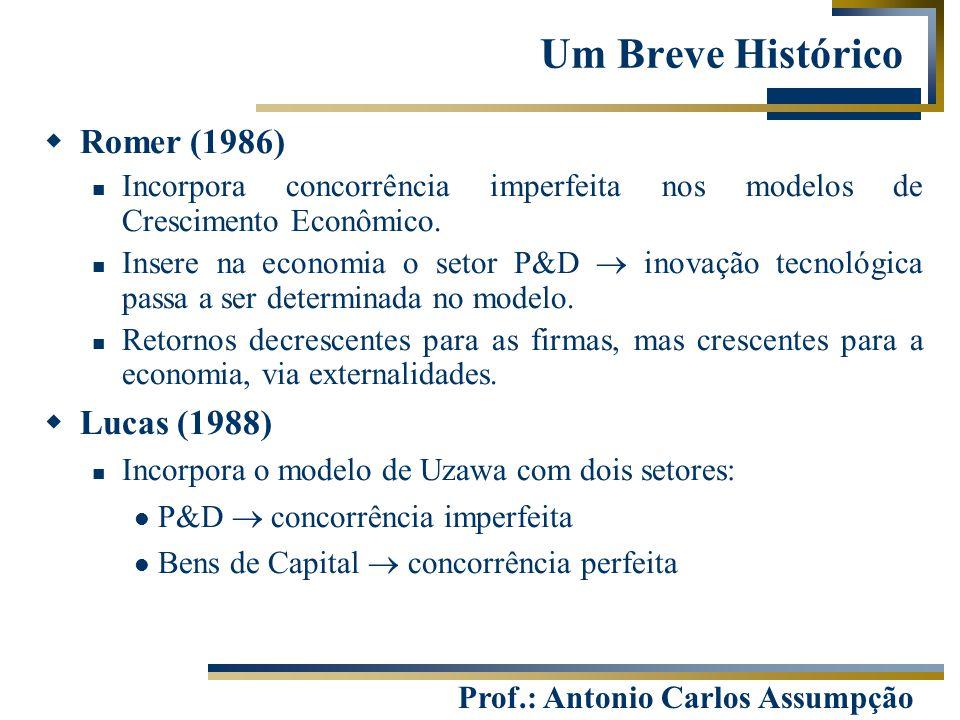 Prof.: Antonio Carlos Assumpção  Romer (1986) Incorpora concorrência imperfeita nos modelos de Crescimento Econômico. Insere na economia o setor P&D