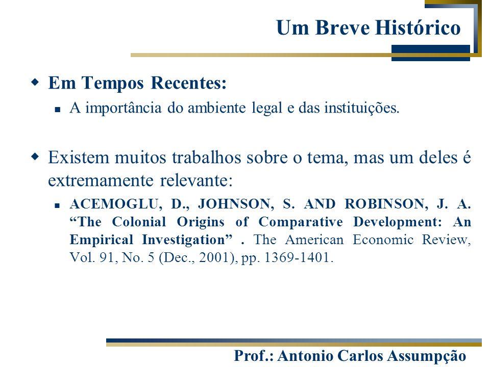 Prof.: Antonio Carlos Assumpção  Em Tempos Recentes: A importância do ambiente legal e das instituições.  Existem muitos trabalhos sobre o tema, mas