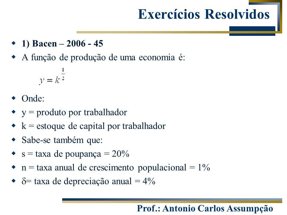 Prof.: Antonio Carlos Assumpção Exercícios Resolvidos  1) Bacen – 2006 - 45  A função de produção de uma economia é:  Onde:  y = produto por traba