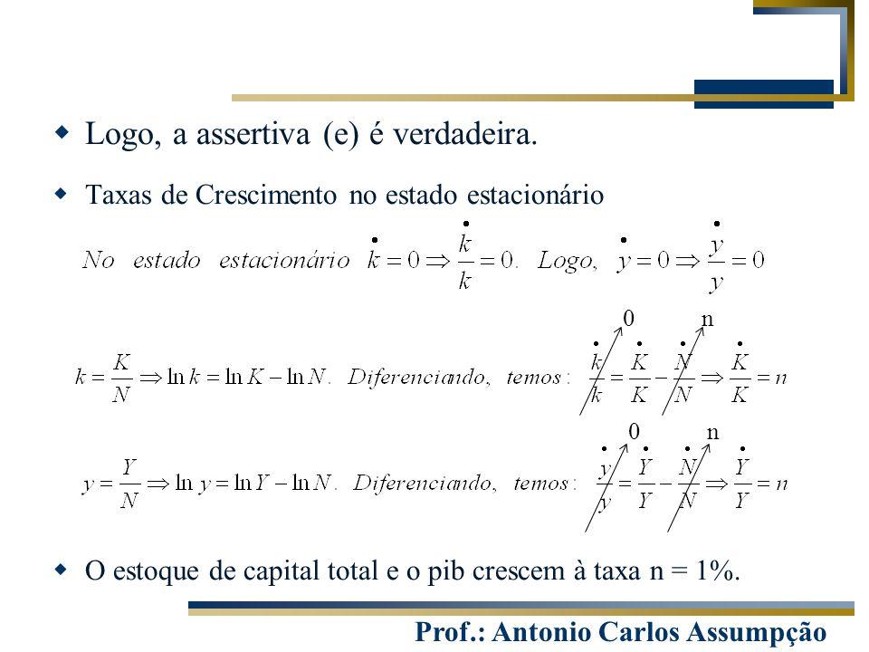 Prof.: Antonio Carlos Assumpção  Logo, a assertiva (e) é verdadeira.  Taxas de Crescimento no estado estacionário  O estoque de capital total e o p
