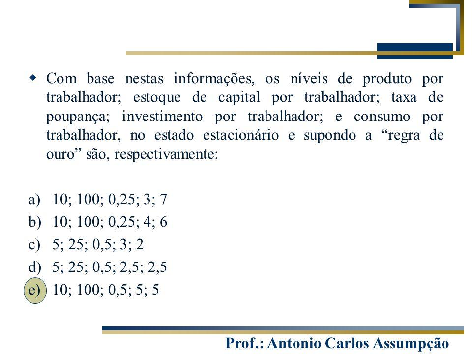 Prof.: Antonio Carlos Assumpção  Com base nestas informações, os níveis de produto por trabalhador; estoque de capital por trabalhador; taxa de poupa