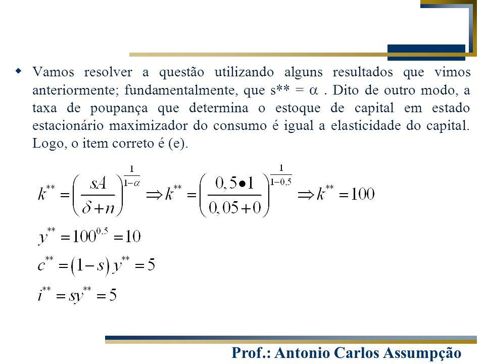 Prof.: Antonio Carlos Assumpção  Vamos resolver a questão utilizando alguns resultados que vimos anteriormente; fundamentalmente, que s** =  Dito