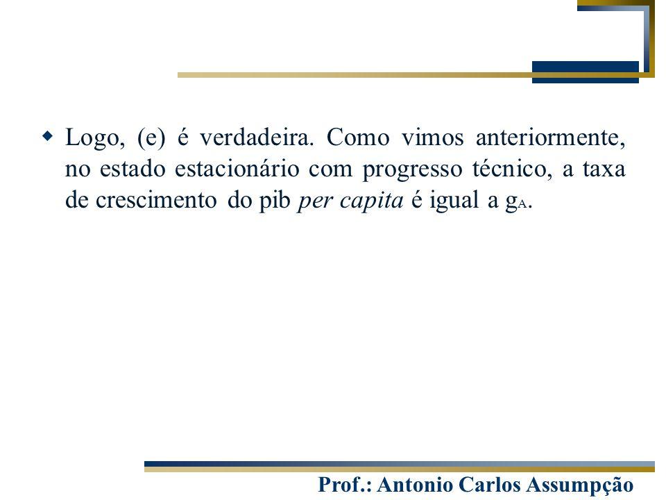 Prof.: Antonio Carlos Assumpção  Logo, (e) é verdadeira. Como vimos anteriormente, no estado estacionário com progresso técnico, a taxa de cresciment