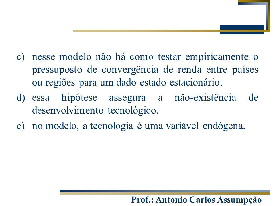 Prof.: Antonio Carlos Assumpção c)nesse modelo não há como testar empiricamente o pressuposto de convergência de renda entre países ou regiões para um