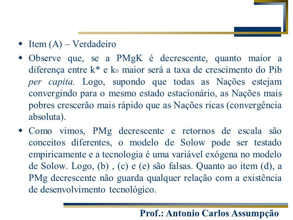 Prof.: Antonio Carlos Assumpção  Item (A) – Verdadeiro  Observe que, se a PMgK é decrescente, quanto maior a diferença entre k* e k 0 maior será a t