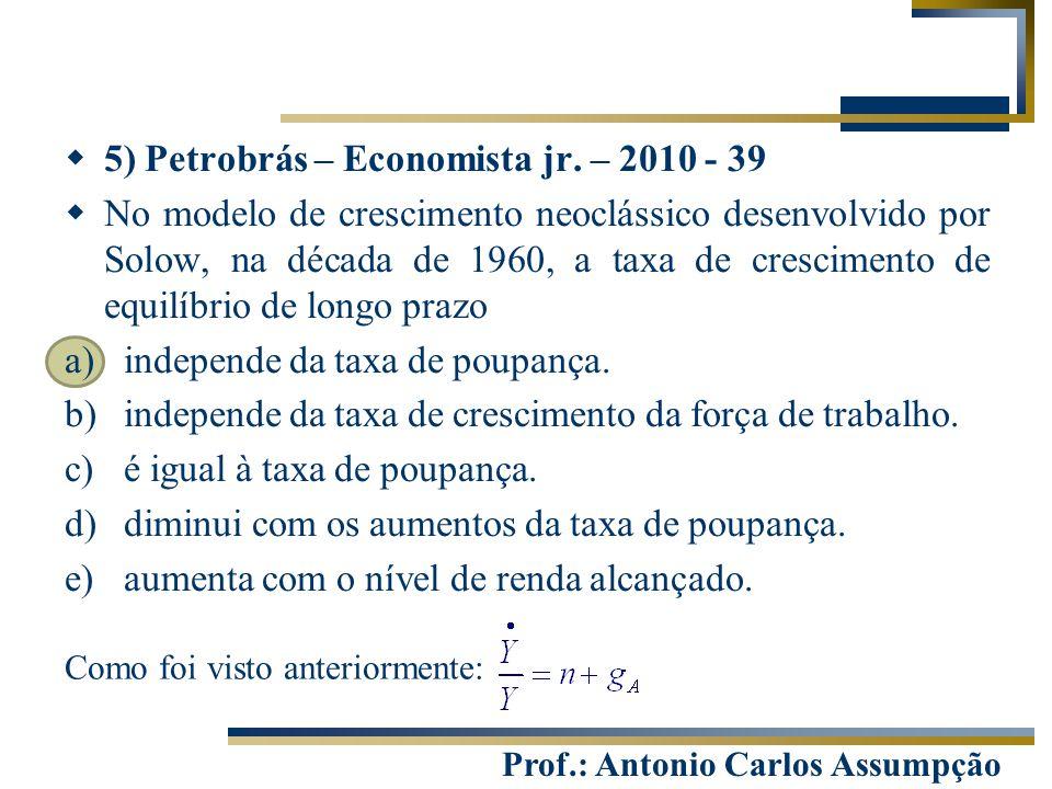Prof.: Antonio Carlos Assumpção Como foi visto anteriormente:  5) Petrobrás – Economista jr. – 2010 - 39  No modelo de crescimento neoclássico desen