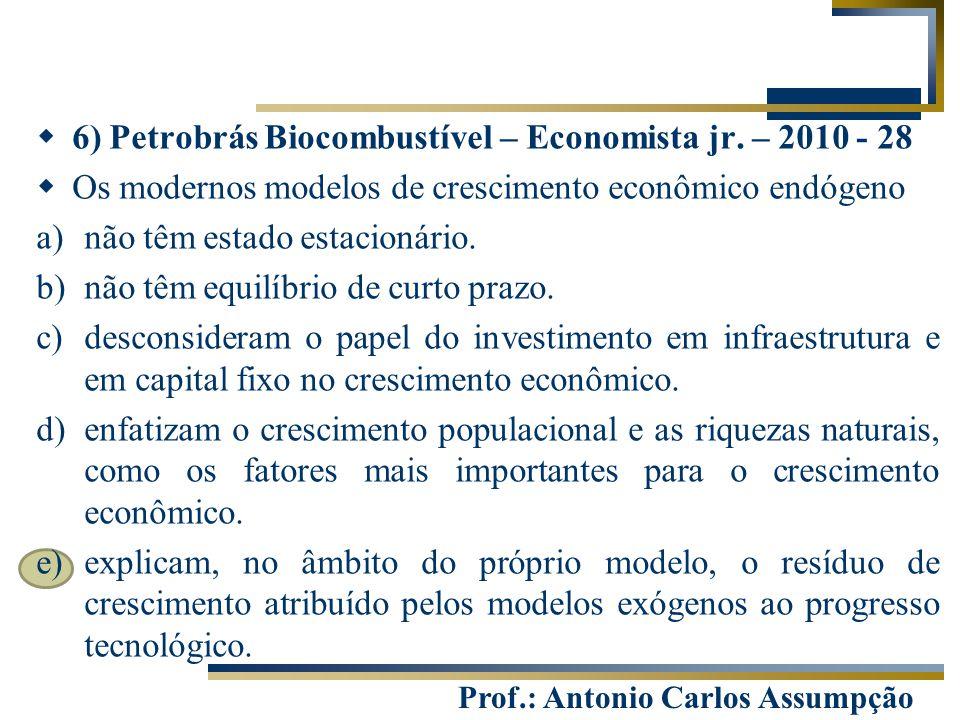 Prof.: Antonio Carlos Assumpção  6) Petrobrás Biocombustível – Economista jr. – 2010 - 28  Os modernos modelos de crescimento econômico endógeno a)n