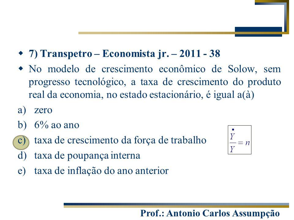 Prof.: Antonio Carlos Assumpção  7) Transpetro – Economista jr. – 2011 - 38  No modelo de crescimento econômico de Solow, sem progresso tecnológico,