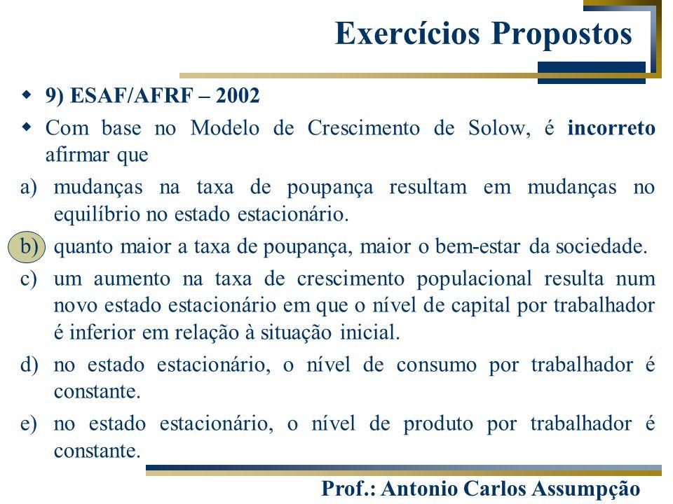 Prof.: Antonio Carlos Assumpção  9) ESAF/AFRF – 2002  Com base no Modelo de Crescimento de Solow, é incorreto afirmar que a)mudanças na taxa de poup